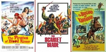Постеры к трём приключенческим фильмам, снятым Джоном Гиллингом для студии Хаммер